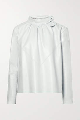 Isabel Marant Chay Gathered Leather Blouse - Off-white