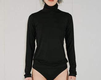 Base Range Black Turtle Neck Top - S | black - Black/Black