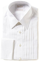 Roundtree & Yorke Gold Label Non-Iron Fitted Classic-Fit Point-Collar Solid Tuxedo Shirt with French Cuffs