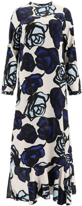 Marni Satin Dress Roma Print