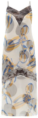 Marina Moscone Geometric-print Silk-blend Organza Midi Dress - Blue Multi
