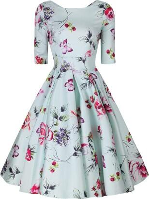 Little Wings Factory Liana Vintage Pastel Mint Roses Flare Dress (16)