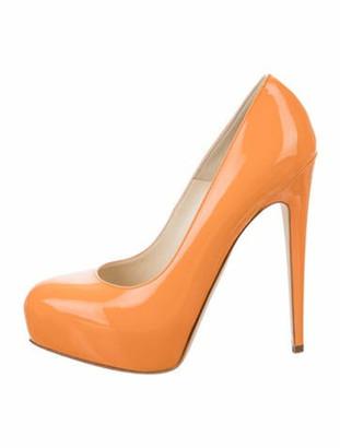 Brian Atwood Patent Leather Platform Pumps Orange