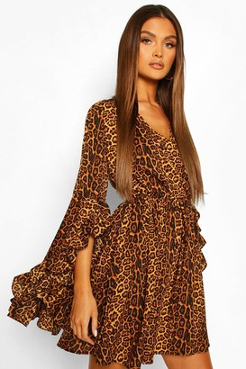 boohoo Satin Leopard Extreme Flare Sleeve Skater Dress