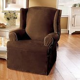 Sure Fit Soft Suede 1-Piece Wing Chair Slipcover