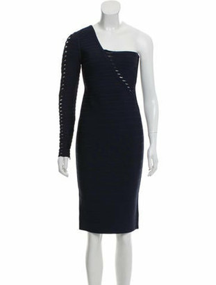 Herve Leger One-Shoulder Bandage Dress blue