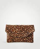 Ann Taylor Leopard Print Haircalf Envelope Clutch