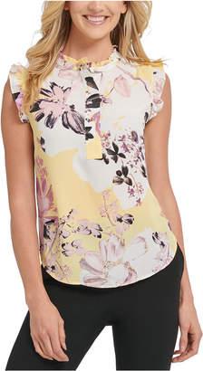 DKNY Petite Sleeveless Floral Print Ruffle Blouse