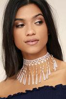 Natalie B Irina Blush Pink Lace Choker Necklace