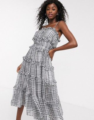 C/Meo Stealing Sunshine tiered ruffle check midi dress in black check