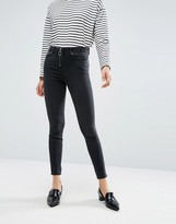 Asos RIDLEY Skinny Jeans In Washed Breede Black With Zip Front