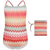 Pink Multi-Coloured Zigzag Swimsuit