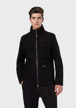 Emporio Armani Virgin Wool Blend Blouson With Front Pockets