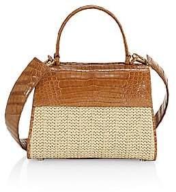 Nancy Gonzalez Women's Small Lexi Raffia & Crocodile Top Handle Bag