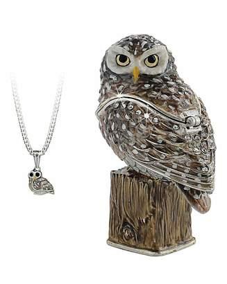 Marisota Owl Secret Trinket Box and Necklace