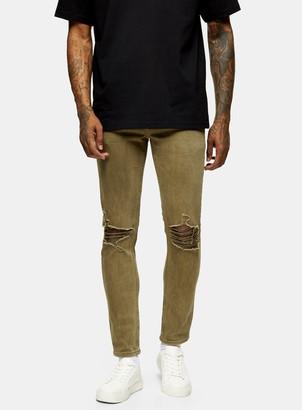 Topman Khaki Ripped Stretch Skinny Jeans