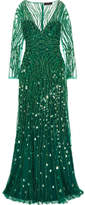 Jenny Packham Embellished Tulle Gown - Forest green