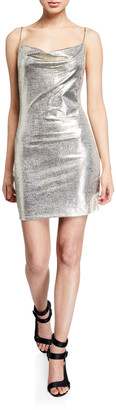 Alice + Olivia Harmie Metallic Cowl-Neck Mini Cocktail Dress