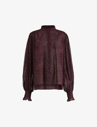 AllSaints Leonie snakeskin-print woven shirt