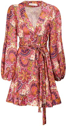 Zimmermann Fiesta Printed Linen Wrap Dress