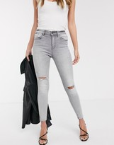 Stradivarius high waist skinny jeans with rips in gray wash
