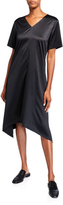 Eileen Fisher Satin V-Neck Short-Sleeve Asymmetric Hem Dress