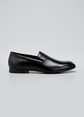 Giorgio Armani Men's Patent & Pebbled Leather Formal Slip-Ons
