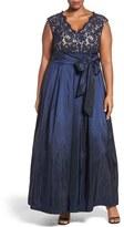 Eliza J Plus Size Women's Lace & Taffeta Ballgown