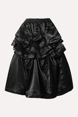 Comme des Garcons Ruffled Cotton-blend Satin Skirt - Black