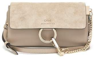 Chloé Faye Mini Leather And Suede Cross-body Bag - Womens - Grey