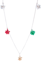 Carole Metallic Green & Red Bow Statement Necklace