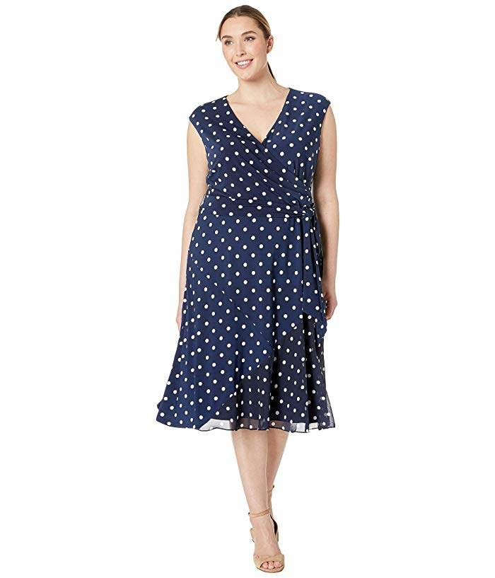 Navy Polka Dot Dress Plus Size - ShopStyle