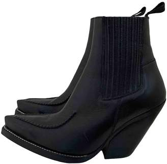 Celine Cowboy Black Leather Ankle boots