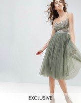 Needle & Thread Needle and Thread Embroidered Bodice Midi Dress With Tulle Skirt
