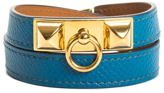 Hermes Gold-Plated Rivale Double Tour Leather Bracelet