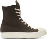 Rick Owens Brown Flannel High-Top Sneakers