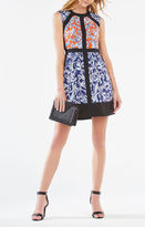 BCBGMAXAZRIA Donatella Ikat Scroll Print-Blocked Dress