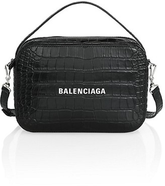 Balenciaga Everyday Croc-Embossed Leather Camera Bag