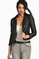 boohoo Torah Vegan Leather Biker Jacket black