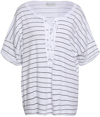 Wildfox Couture Lace-up Striped Cotton-jersey T-shirt