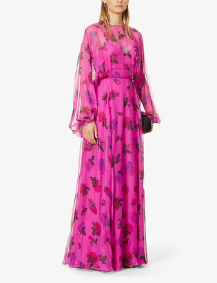 Valentino Floral-print silk-chiffon gown