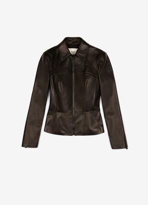 Bally Nappa Leather Peplum Jacket