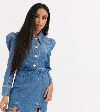 ASOS DESIGN Petite denim mini western shirt dress with puff sleeve