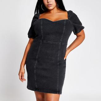 River Island Plus black puff sleeve denim mini dress