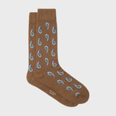 Paul Smith Men's Brown Paisley Wool-Cashmere Socks