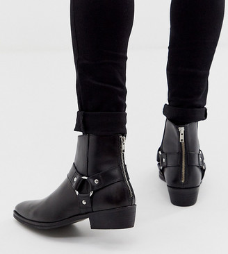 ASOS DESIGN Wide Fit stacked heel western chelsea boots in black leather with buckle detail