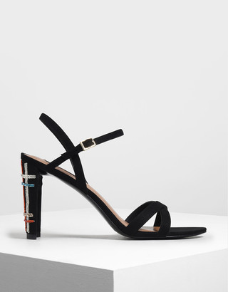 Charles & Keith Embellished Curved Block Heel Strappy Sandals