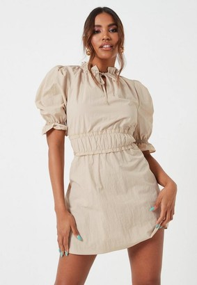 Missguided Stone Ruched Waist Puff Sleeve Mini Dress