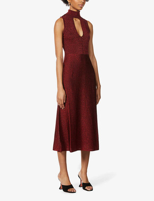 Pinko Horten sleeveless woven-metallic midi dress
