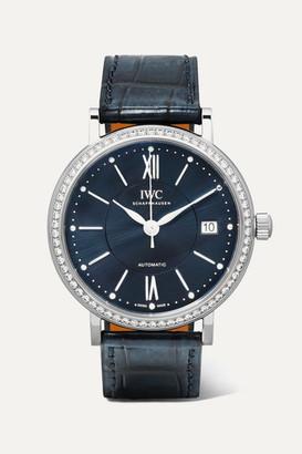 IWC Schaffhausen SCHAFFHAUSEN - Portofino Automatic 37 Alligator, Stainless Steel And Diamond Watch - Silver